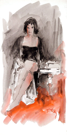 Art work by Gino Tili Figura seduta - watercolor paper