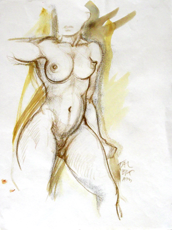 Art work by Claude Falbriard Nudo - mixed paper