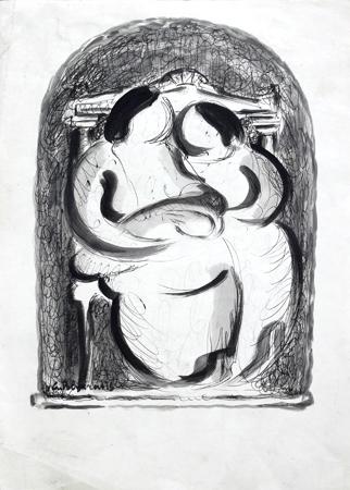 Quadro di Giorgio Polykratis Famiglia - mista carta