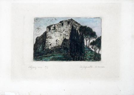 Quadro di  Papini La rocca - litografia carta