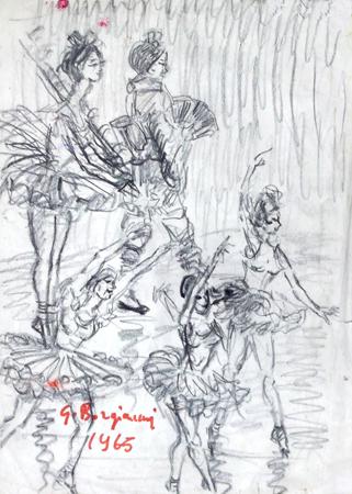 Quadro di Guido Borgianni Ballerine - carboncino carta