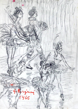 Art work by Guido Borgianni Ballerine - charcoal paper