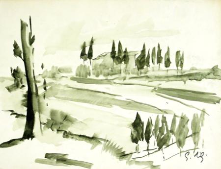 Quadro di Gino Tili Paesaggio - acquerello carta