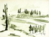 Quadro di Gino Tili - Paesaggio acquerello carta