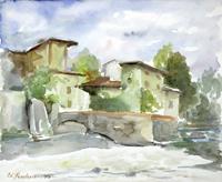 Quadro di Edmondo Prestopino - Borgo antico acquerello carta