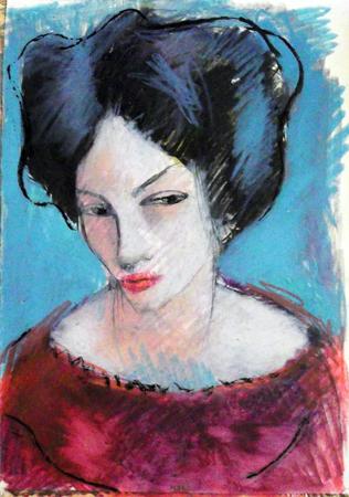 Quadro di Lorenzo Montagni Ritratto di donna - mista carta