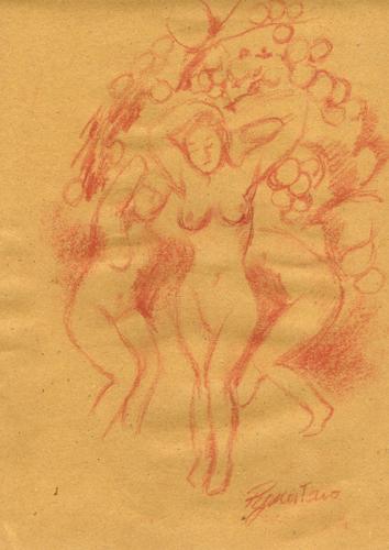Quadro di Luigi Pignataro Baccanti - sanguigna carta gialla