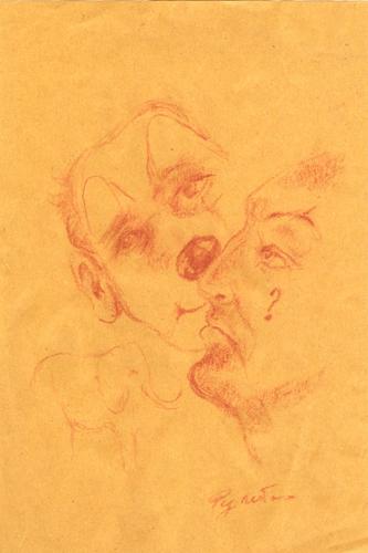 Artwork by Luigi Pignataro, blood on yellow paper | Italian Painters FirenzeArt gallery italian painters