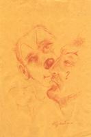 Quadro di Luigi Pignataro - Volti del circo sanguigna carta gialla