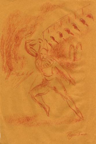 Quadro di Luigi Pignataro Clown - sanguigna carta gialla