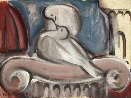 Quadro di Giorgio Polykratis Amore tra colombe - olio cartone telato