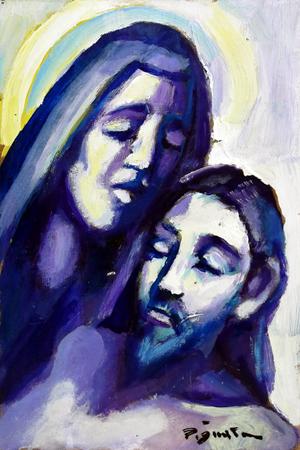 Quadro di Luigi Pignataro Pietà - olio tavola