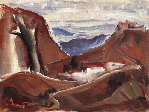 Quadro di Giorgio Polykratis Paesaggio - olio cartone telato