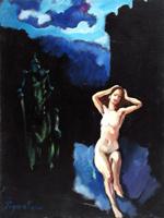 Quadro di Luigi Pignataro - Il Cavaliere nel Sogno olio tela
