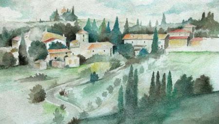 Quadro di  Anonimo Paese di campagna - Santa Maria a Bagnano, Barberino Val D'Elsa - acquerello carta