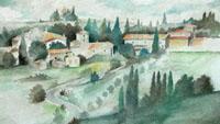 Quadro di  Anonimo - Paese di campagna - Santa Maria a Bagnano, Barberino Val D'Elsa acquerello carta