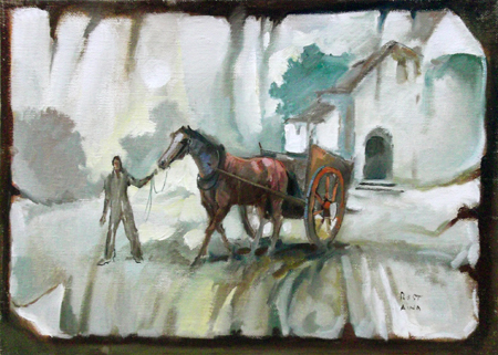 Quadro di  Reistano Cavallo al traino - olio tela