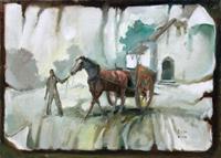 Quadro di  Reistano  Cavallo al traino
