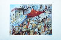 Quadro di Christian Hibon - Il mercato litografia carta
