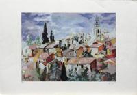 Quadro di Christian Hibon - Paesaggio cittadino litografia carta