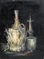 Quadro di A. Basile - Natura morta con fiasco di vino olio cartone telato