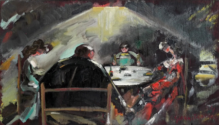 Quadro di Carlo Giannitrapani A cena - Pittori contemporanei galleria Firenze Art