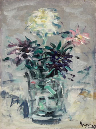 Art work by Enzo Pregno Vaso di fiori - oil canvas cardboard