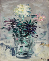 Work of Enzo Pregno - Vaso di fiori oil canvas cardboard