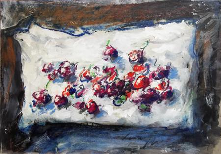 Quadro di Sergio Scatizzi Natura morta con ciliegie - mista carta su tavola