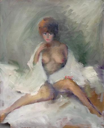Quadro di Gino Tili Nudo sensuale - olio tavola