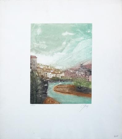 Quadro di firma Illeggibile Paesaggio - litografia carta