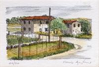 Quadro di Mario Agostini - Paesaggio di campagna litografia carta
