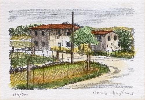 Quadro di Mario Agostini Paesaggio di campagna - litografia carta