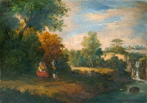 Quadro di Oreste Zucchelli Paesaggio ottocentesco - olio cartone telato
