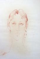 Quadro di Luigi Pignataro - Volto con orecchino sanguigna carta