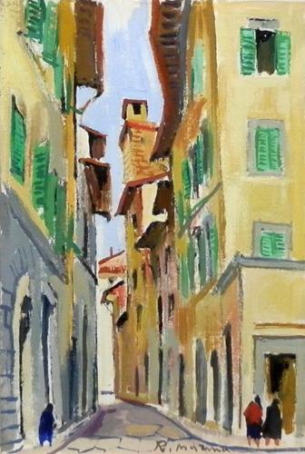 Art work by Rodolfo Marma Via delle oche - oil canvas cardboard