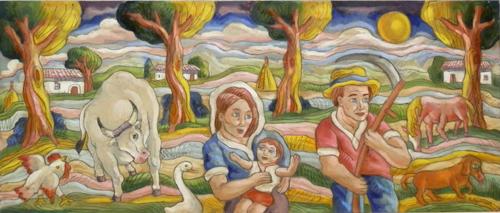 Quadro di Roberto Sguanci Scena campestre - acrilico tavola