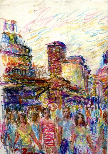 Art work by Guido Borgianni Turisti sul Ponte Vecchio - pastel paper
