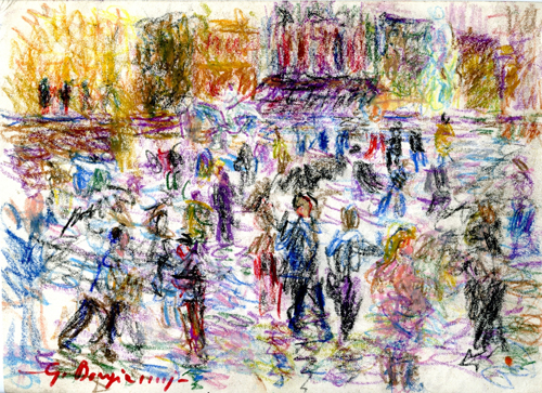 Art work by Guido Borgianni Camminando per il centro - pastel paper