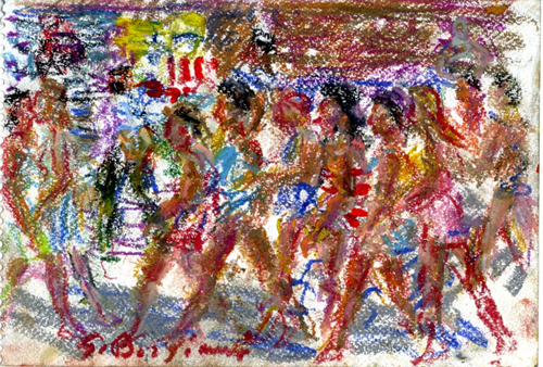 Quadro di Guido Borgianni Figure che camminano - pastello carta