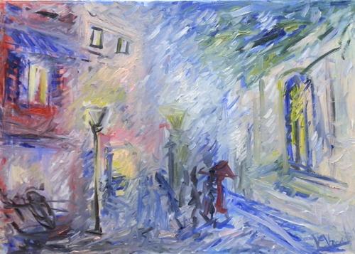 Quadro di Vanessa Katrin Pioggia nella via - olio tela