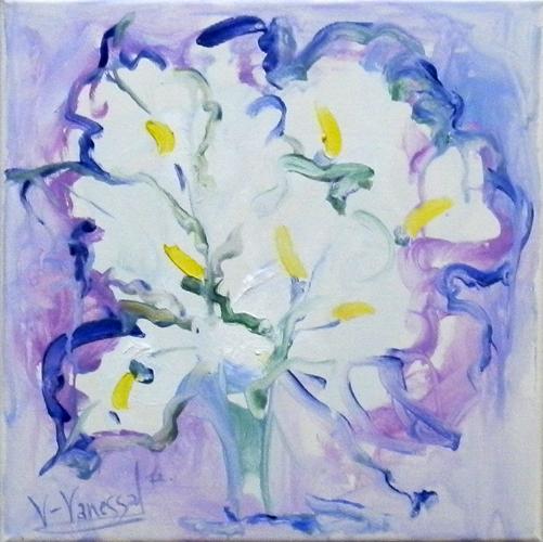 Quadro di Vanessa Katrin Fiori bianchi - olio tela