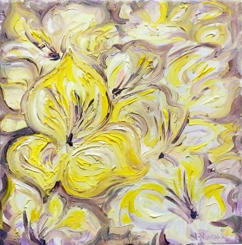 Quadro di Vanessa Katrin Fiori gialli - olio tela