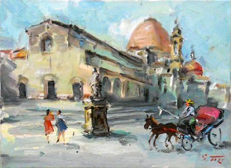Quadro di Gino Tili San Lorenzo - olio tela
