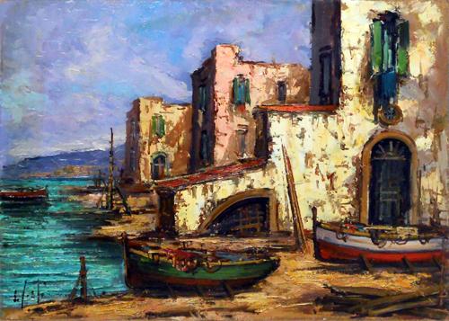 Quadro di firma Illeggibile Paesaggio costiero - Pittori contemporanei galleria Firenze Art