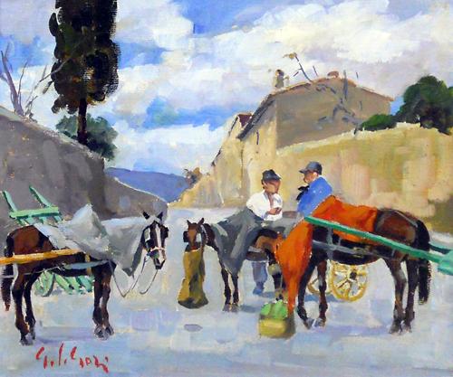 Quadro di Gino Paolo Gori In paese - olio tela