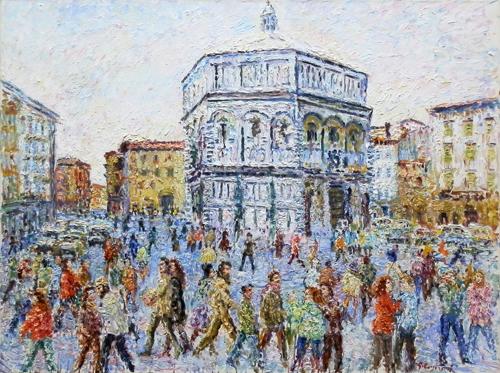 Quadro di Guido Borgianni Battistero - olio tela