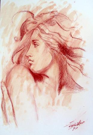 Art work by Luigi Pignataro Profilo di ragazza - mixed paper