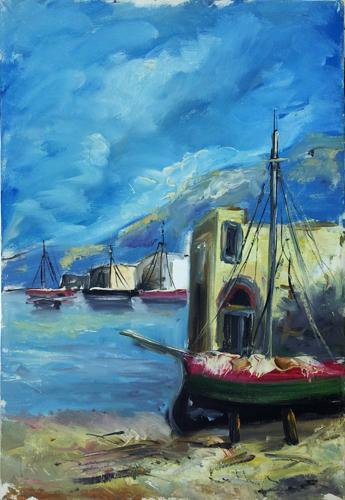Art work by firma Illeggibile Paesaggio marino - oil canvas