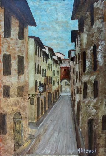 Quadro di A. Bellucci Strada fiorentina - olio faesite